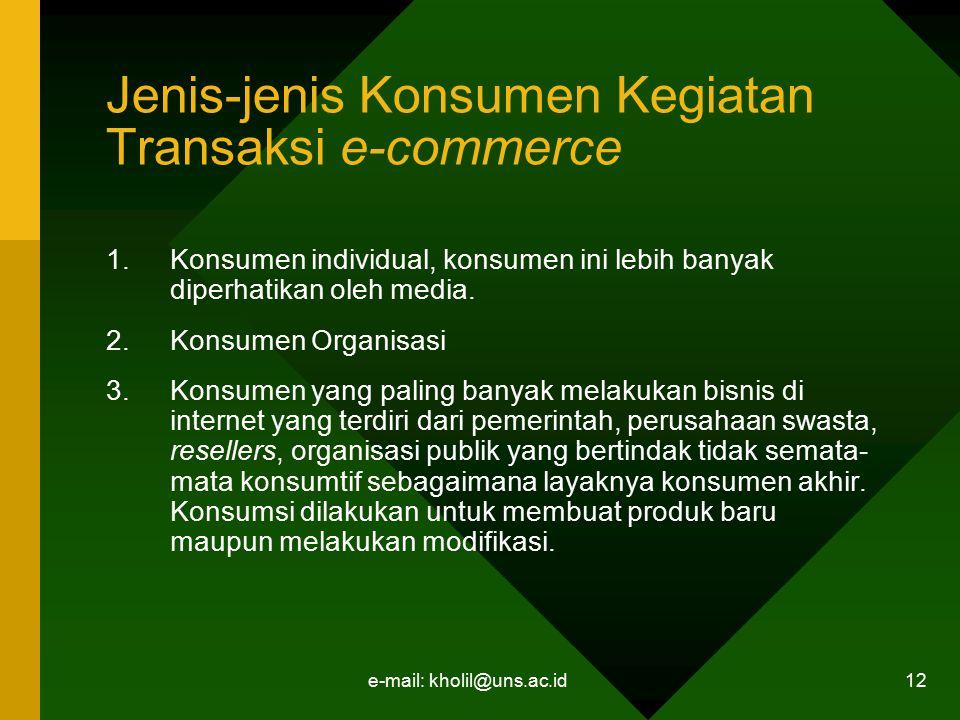 e-mail: kholil@uns.ac.id 12 Jenis-jenis Konsumen Kegiatan Transaksi e-commerce 1.Konsumen individual, konsumen ini lebih banyak diperhatikan oleh medi