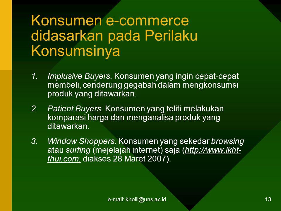 e-mail: kholil@uns.ac.id 13 Konsumen e-commerce didasarkan pada Perilaku Konsumsinya 1.Implusive Buyers. Konsumen yang ingin cepat-cepat membeli, cend