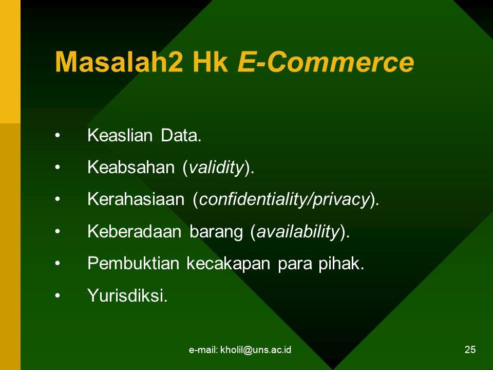 e-mail: kholil@uns.ac.id 25 Masalah2 Hk E-Commerce Keaslian Data. Keabsahan (validity). Kerahasiaan (confidentiality/privacy). Keberadaan barang (avai