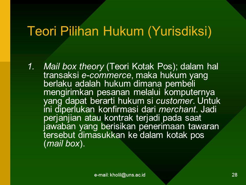 e-mail: kholil@uns.ac.id 28 Teori Pilihan Hukum (Yurisdiksi) 1.Mail box theory (Teori Kotak Pos); dalam hal transaksi e-commerce, maka hukum yang berl