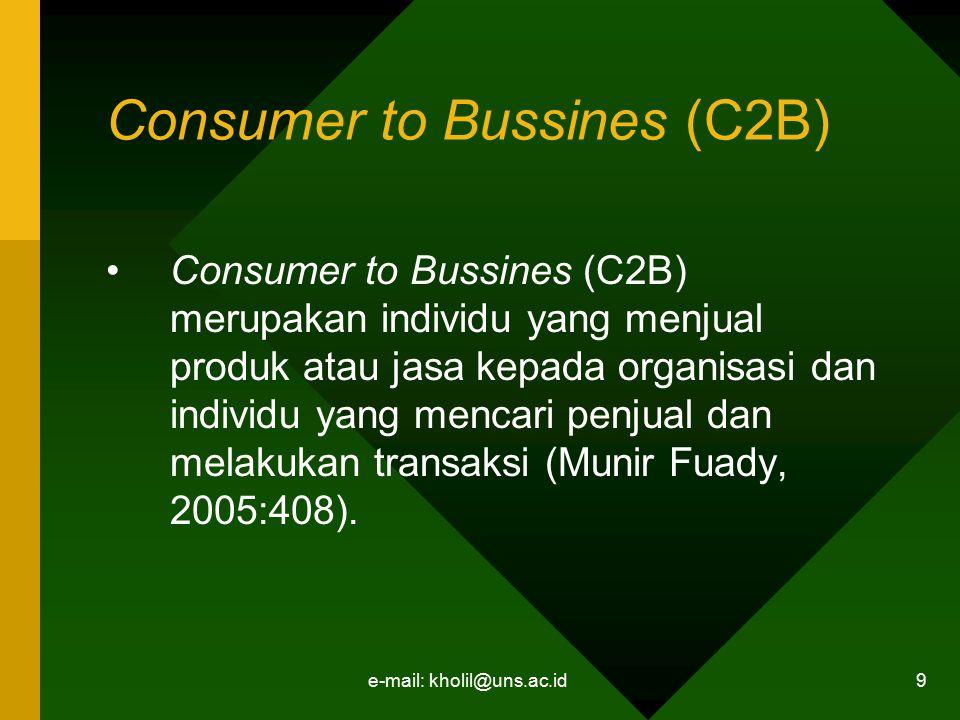 e-mail: kholil@uns.ac.id 10 Non-Bussines Electronic Commerce Non-Bussines Electronic Commerce meliputi kegiatan non bisnis seperti kegiatan lembaga pendidikan, organisasi nirlaba, keagamaan dan lain- lain (Munir Fuady, 2005 : 408).