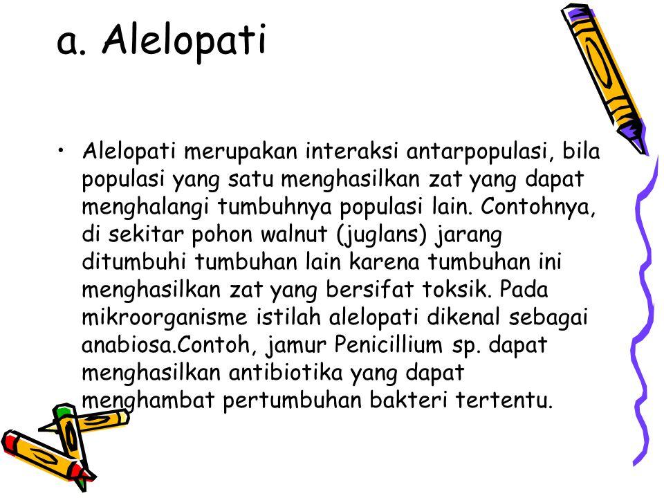 a. Alelopati Alelopati merupakan interaksi antarpopulasi, bila populasi yang satu menghasilkan zat yang dapat menghalangi tumbuhnya populasi lain. Con