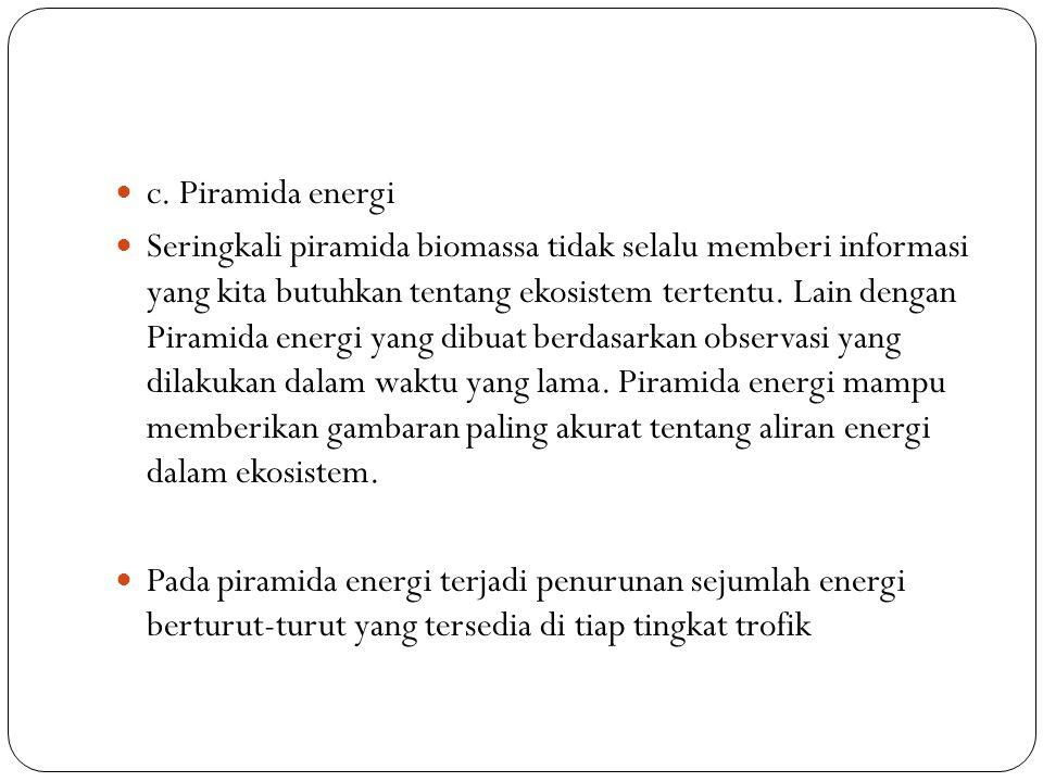 c. Piramida energi Seringkali piramida biomassa tidak selalu memberi informasi yang kita butuhkan tentang ekosistem tertentu. Lain dengan Piramida ene