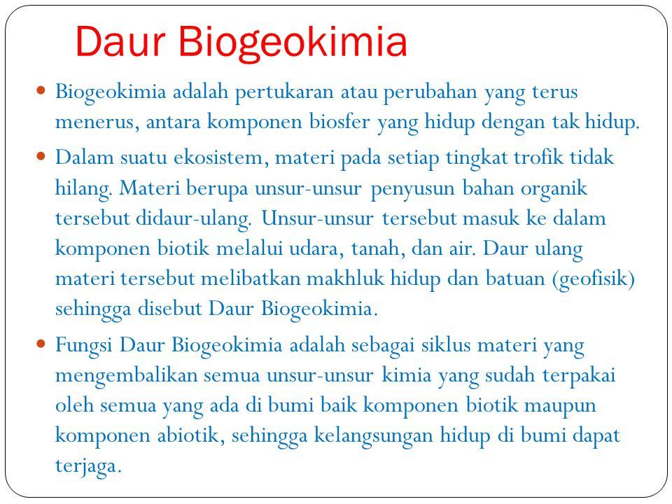 Daur Biogeokimia Biogeokimia adalah pertukaran atau perubahan yang terus menerus, antara komponen biosfer yang hidup dengan tak hidup. Dalam suatu eko