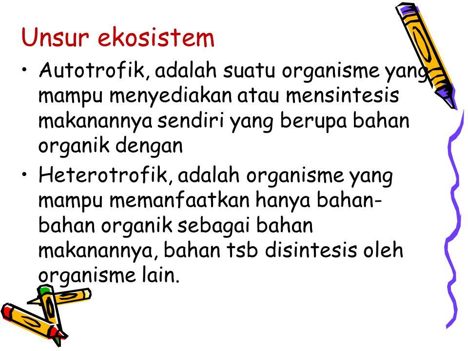 Unsur ekosistem Autotrofik, adalah suatu organisme yang mampu menyediakan atau mensintesis makanannya sendiri yang berupa bahan organik dengan Heterot