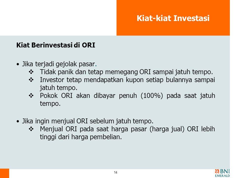 14 Kiat-kiat Investasi Kiat Berinvestasi di ORI Jika terjadi gejolak pasar.