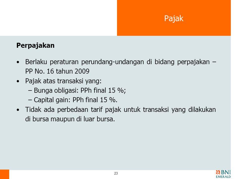 23 Pajak Perpajakan Berlaku peraturan perundang-undangan di bidang perpajakan – PP No.