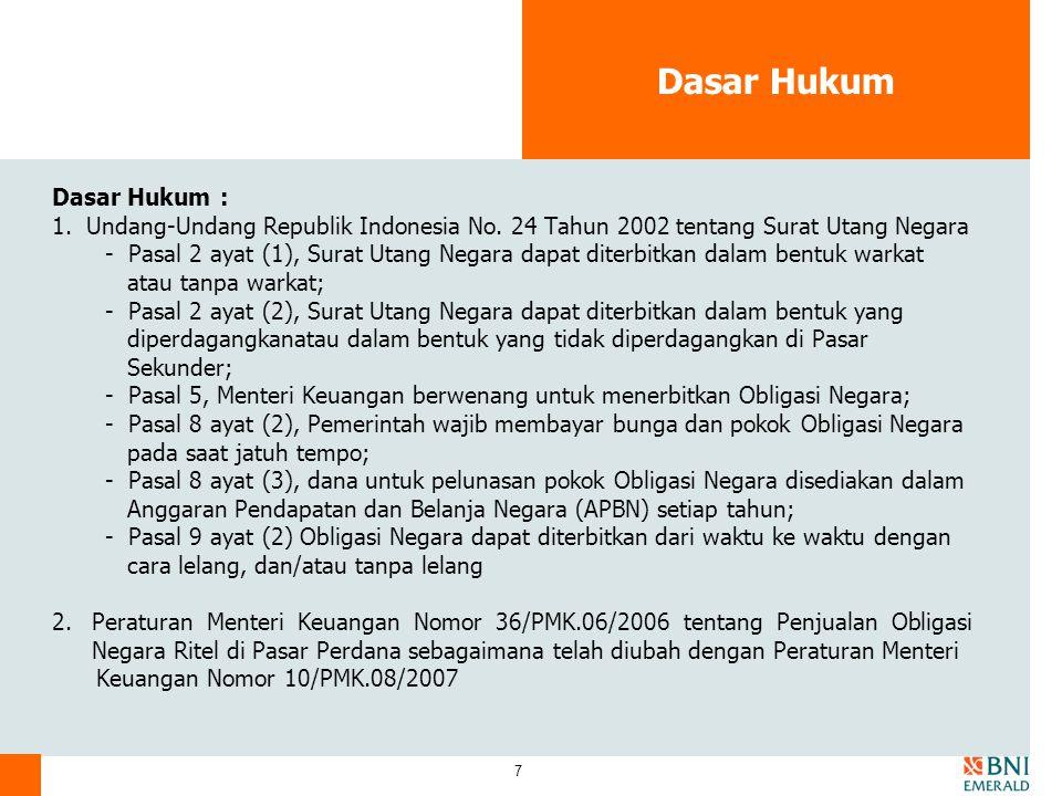 18 Informasi Harga ORI ORI di pasar sekunder Informasi Harga ORI Secara umum indikasi harga ORI nanti dapat dilihat pada official closing price Bursa Efek Indonesia atau dari sumber lainnya melalui Agen Penjual, melalui media masa, website BEI (www.idx.co.id).
