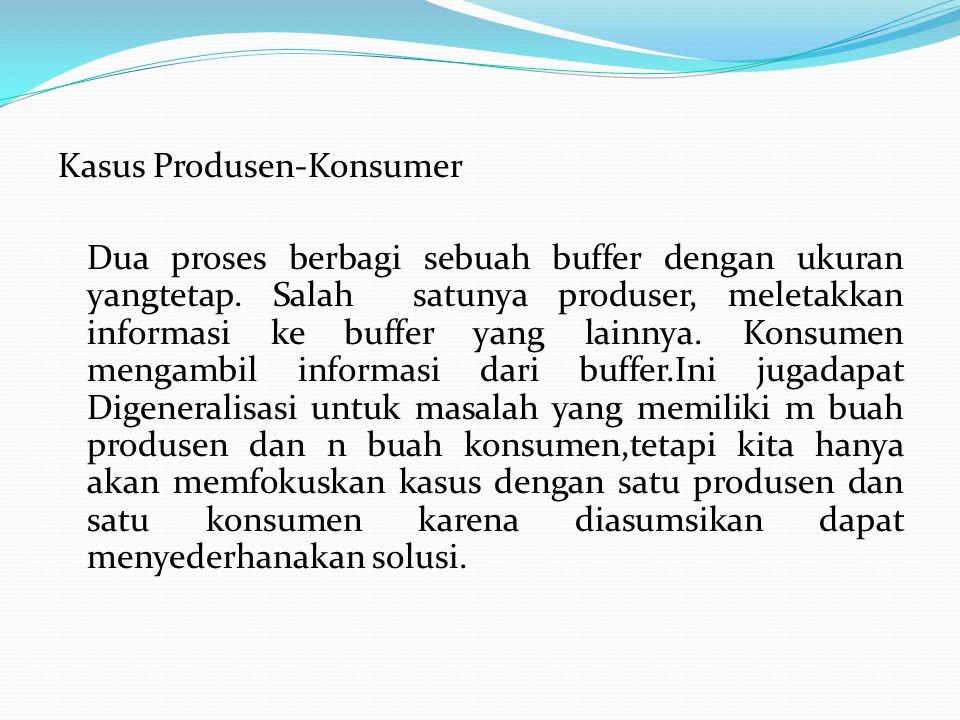 Kasus Produsen-Konsumer Dua proses berbagi sebuah buffer dengan ukuran yangtetap.