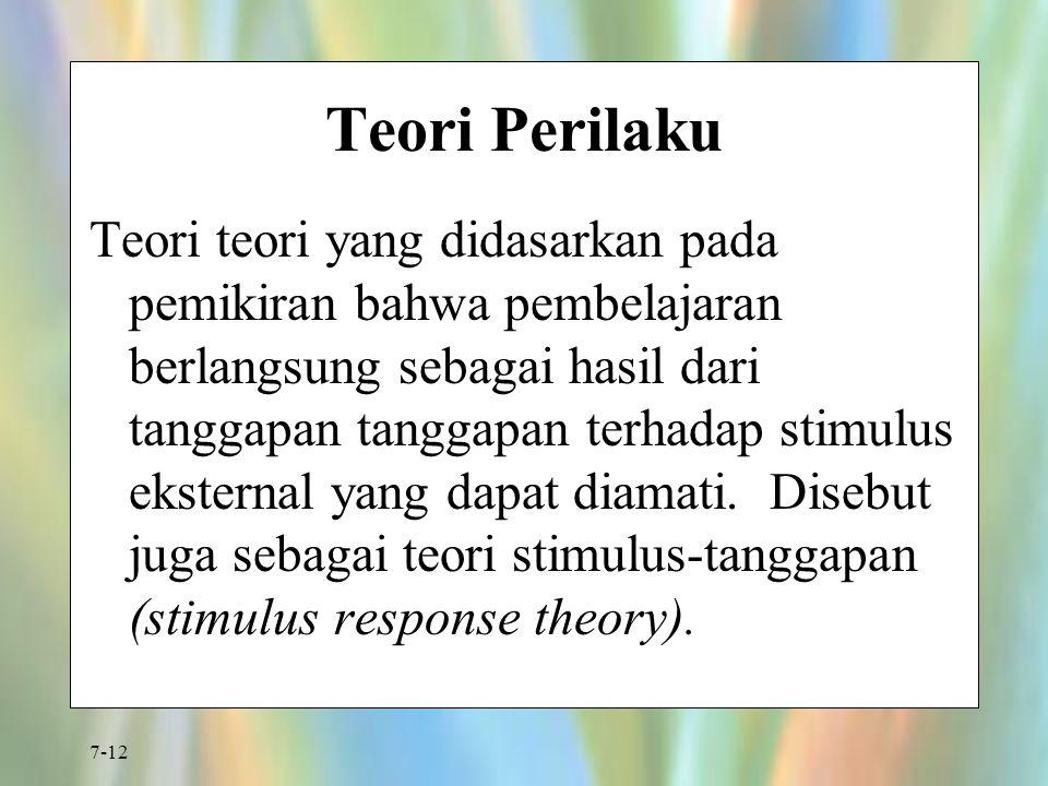 7-12 Teori Perilaku Teori teori yang didasarkan pada pemikiran bahwa pembelajaran berlangsung sebagai hasil dari tanggapan tanggapan terhadap stimulus