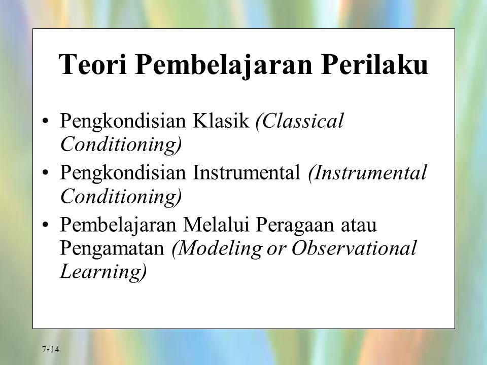 7-14 Teori Pembelajaran Perilaku Pengkondisian Klasik (Classical Conditioning) Pengkondisian Instrumental (Instrumental Conditioning) Pembelajaran Mel