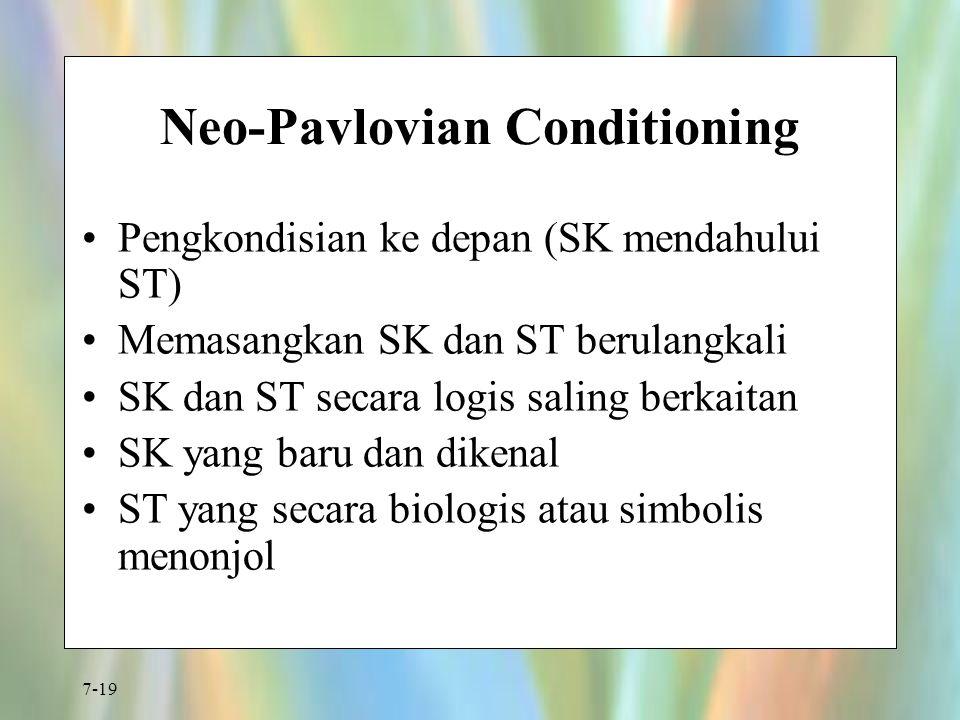 7-19 Neo-Pavlovian Conditioning Pengkondisian ke depan (SK mendahului ST) Memasangkan SK dan ST berulangkali SK dan ST secara logis saling berkaitan S