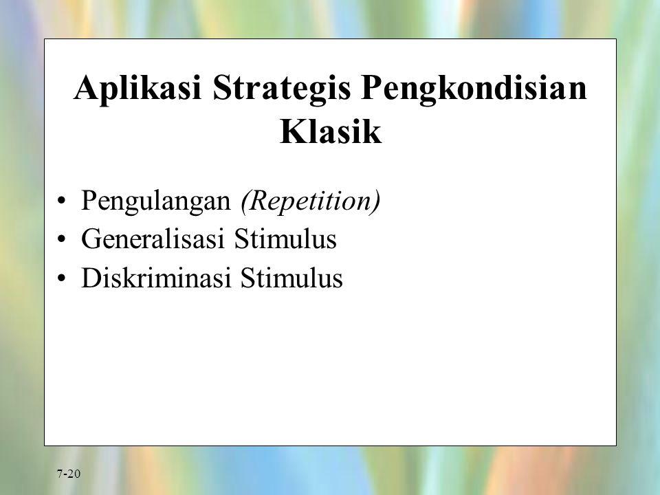 7-20 Aplikasi Strategis Pengkondisian Klasik Pengulangan (Repetition) Generalisasi Stimulus Diskriminasi Stimulus