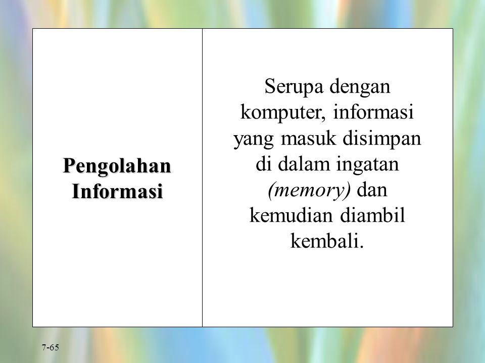7-65 Pengolahan Informasi Serupa dengan komputer, informasi yang masuk disimpan di dalam ingatan (memory) dan kemudian diambil kembali.
