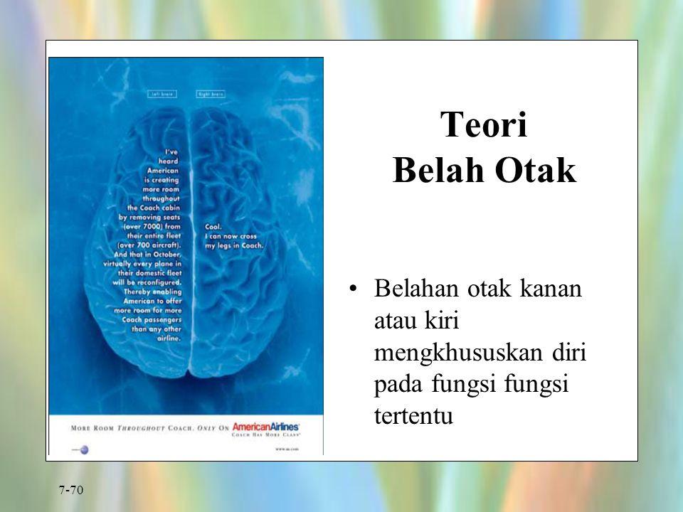 7-70 Teori Belah Otak Belahan otak kanan atau kiri mengkhususkan diri pada fungsi fungsi tertentu Figure 7.14