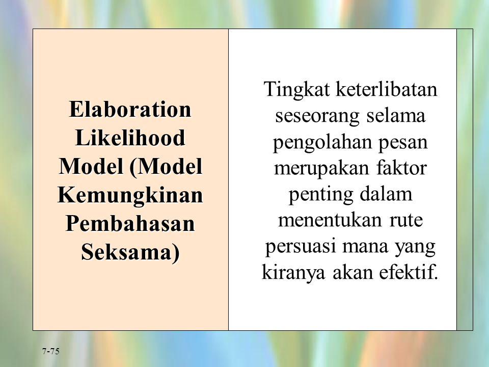 7-75 Elaboration Likelihood Model (Model Kemungkinan Pembahasan Seksama) Tingkat keterlibatan seseorang selama pengolahan pesan merupakan faktor penti