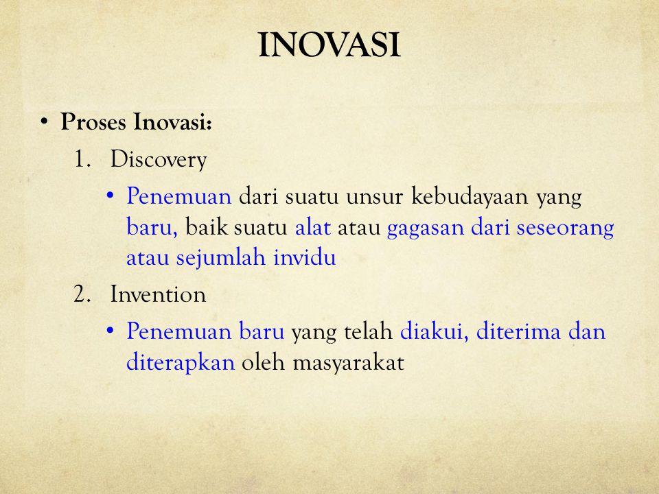 INOVASI Proses Inovasi: 1.Discovery Penemuan dari suatu unsur kebudayaan yang baru, baik suatu alat atau gagasan dari seseorang atau sejumlah invidu 2