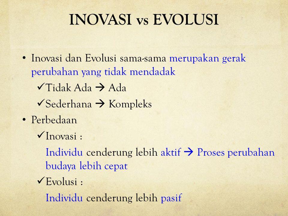 INOVASI vs EVOLUSI Inovasi dan Evolusi sama-sama merupakan gerak perubahan yang tidak mendadak Tidak Ada  Ada Sederhana  Kompleks Perbedaan Inovasi