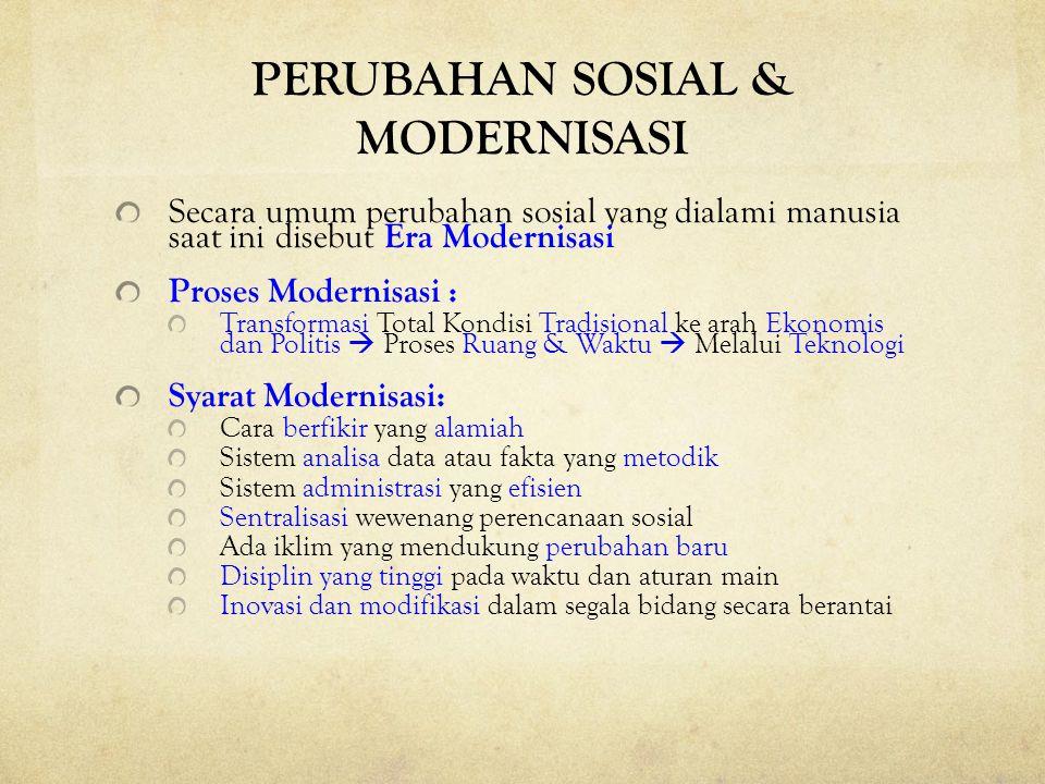 PERUBAHAN SOSIAL & MODERNISASI Secara umum perubahan sosial yang dialami manusia saat ini disebut Era Modernisasi Proses Modernisasi : Transformasi To