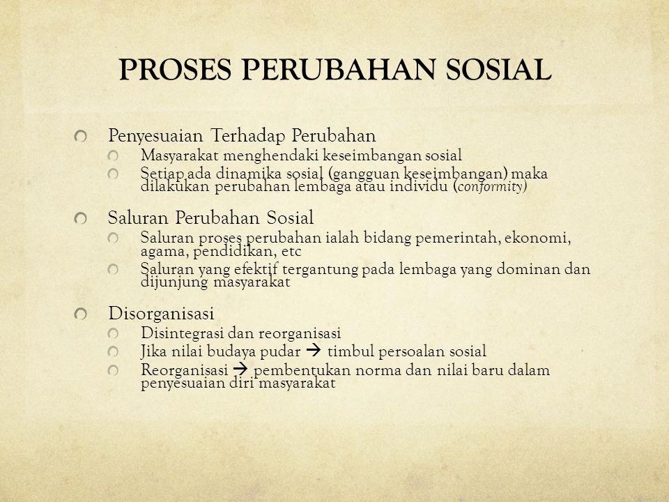 PROSES PERUBAHAN SOSIAL Penyesuaian Terhadap Perubahan Masyarakat menghendaki keseimbangan sosial Setiap ada dinamika sosial (gangguan keseimbangan) m