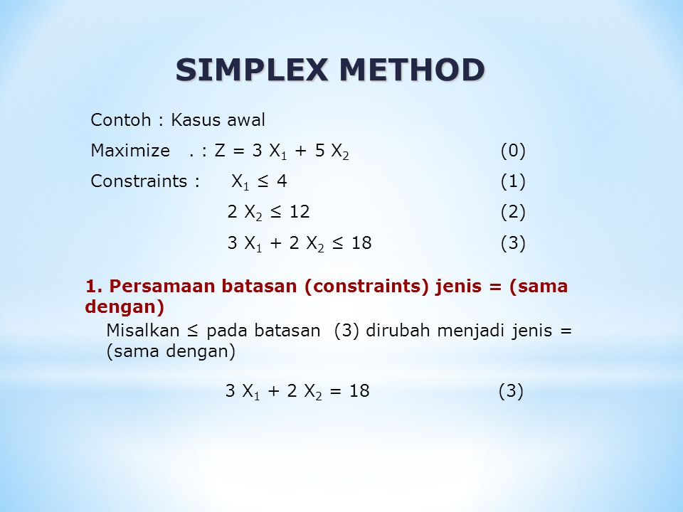 SIMPLEX METHOD 1. Persamaan batasan (constraints) jenis = (sama dengan) Contoh : Kasus awal Maximize. : Z = 3 X 1 + 5 X 2 (0) Constraints : X 1 ≤ 4(1)