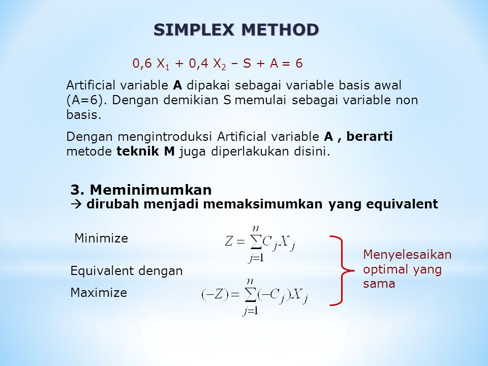 SIMPLEX METHOD 0,6 X 1 + 0,4 X 2 – S + A = 6 Artificial variable A dipakai sebagai variable basis awal (A=6).