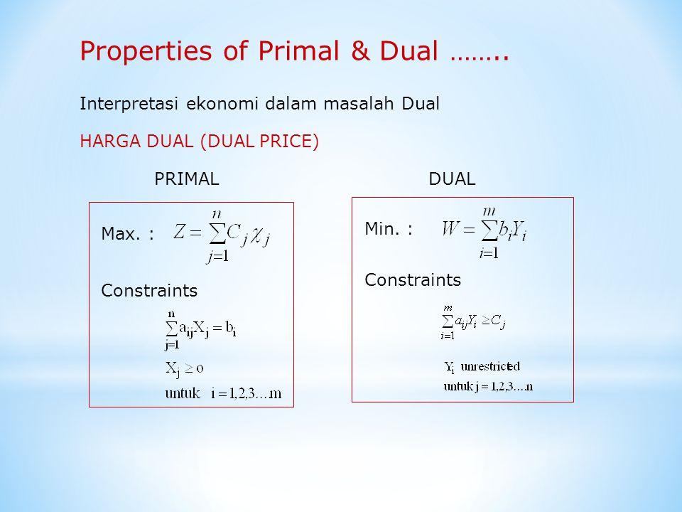 Properties of Primal & Dual ……..