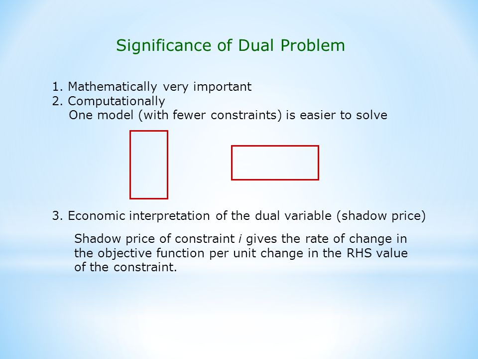 Significance of Dual Problem 1.Mathematically very important 2.
