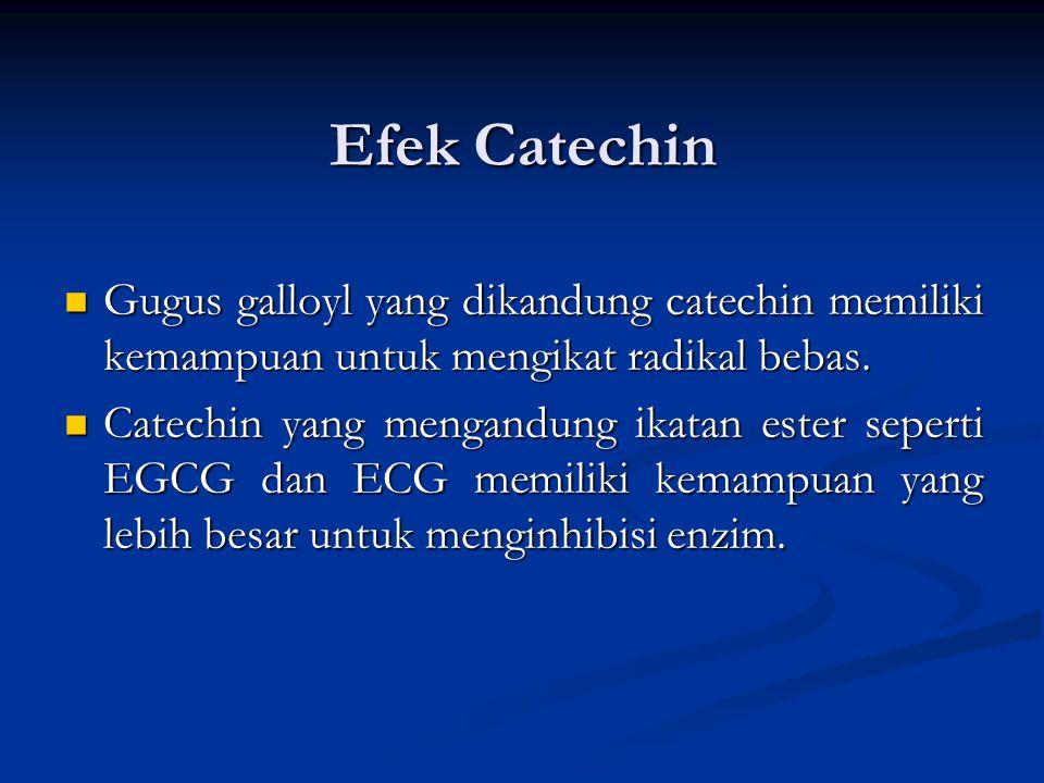 Efek Catechin Gugus galloyl yang dikandung catechin memiliki kemampuan untuk mengikat radikal bebas. Gugus galloyl yang dikandung catechin memiliki ke