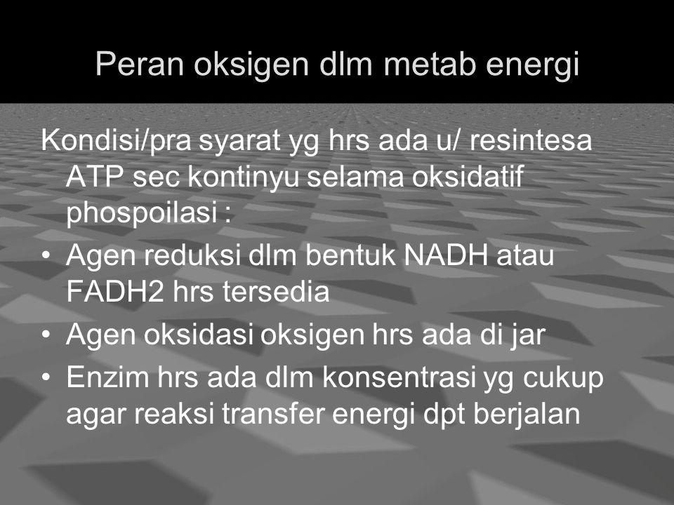 Peran oksigen dlm metab energi Kondisi/pra syarat yg hrs ada u/ resintesa ATP sec kontinyu selama oksidatif phospoilasi : Agen reduksi dlm bentuk NADH atau FADH2 hrs tersedia Agen oksidasi oksigen hrs ada di jar Enzim hrs ada dlm konsentrasi yg cukup agar reaksi transfer energi dpt berjalan