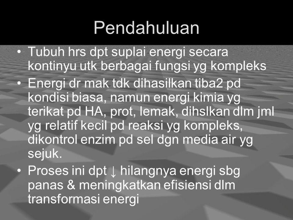 Pendahuluan Tubuh hrs dpt suplai energi secara kontinyu utk berbagai fungsi yg kompleks Energi dr mak tdk dihasilkan tiba2 pd kondisi biasa, namun energi kimia yg terikat pd HA, prot, lemak, dihslkan dlm jml yg relatif kecil pd reaksi yg kompleks, dikontrol enzim pd sel dgn media air yg sejuk.