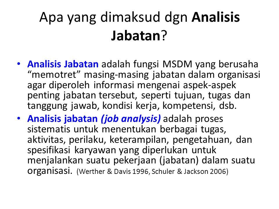 "Apa yang dimaksud dgn Analisis Jabatan? Analisis Jabatan adalah fungsi MSDM yang berusaha ""memotret"" masing-masing jabatan dalam organisasi agar diper"