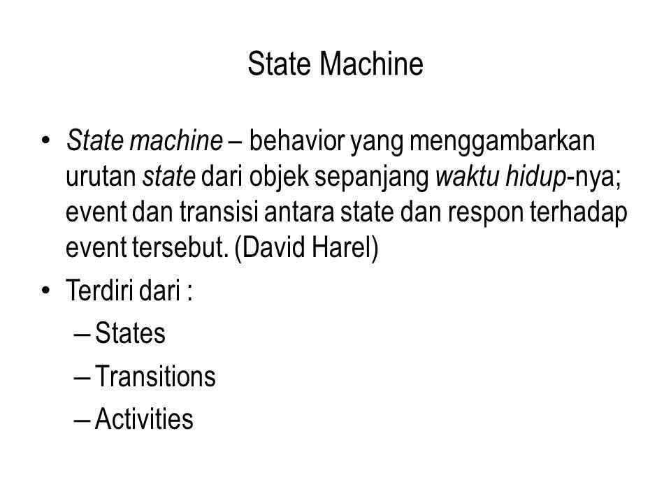 State Machine State machine – behavior yang menggambarkan urutan state dari objek sepanjang waktu hidup -nya; event dan transisi antara state dan respon terhadap event tersebut.