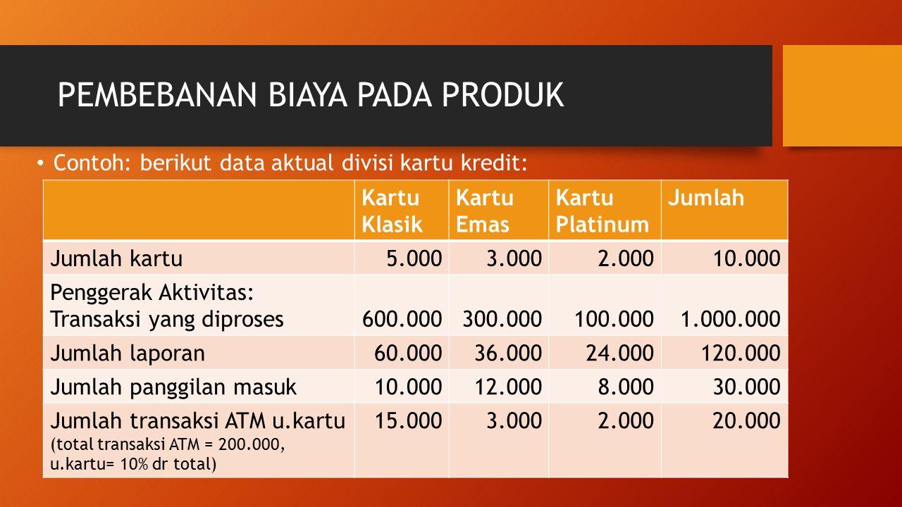PEMBEBANAN BIAYA PADA PRODUK Contoh: berikut data aktual divisi kartu kredit: Kartu Klasik Kartu Emas Kartu Platinum Jumlah Jumlah kartu5.0003.0002.00
