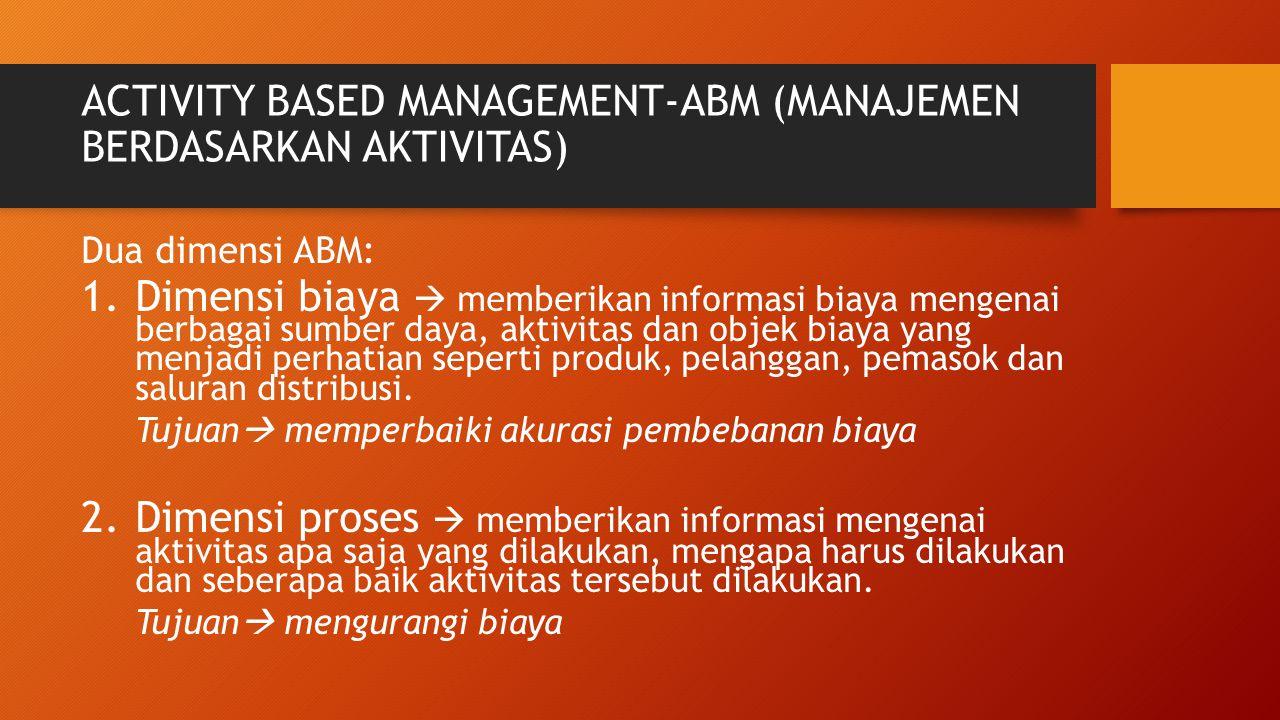 ACTIVITY BASED MANAGEMENT-ABM (MANAJEMEN BERDASARKAN AKTIVITAS) Dua dimensi ABM: 1.Dimensi biaya  memberikan informasi biaya mengenai berbagai sumber