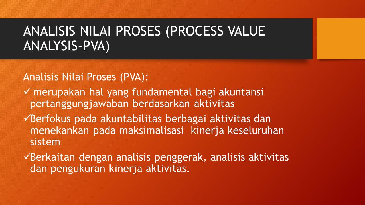 ANALISIS NILAI PROSES (PROCESS VALUE ANALYSIS-PVA) Analisis Nilai Proses (PVA): merupakan hal yang fundamental bagi akuntansi pertanggungjawaban berda