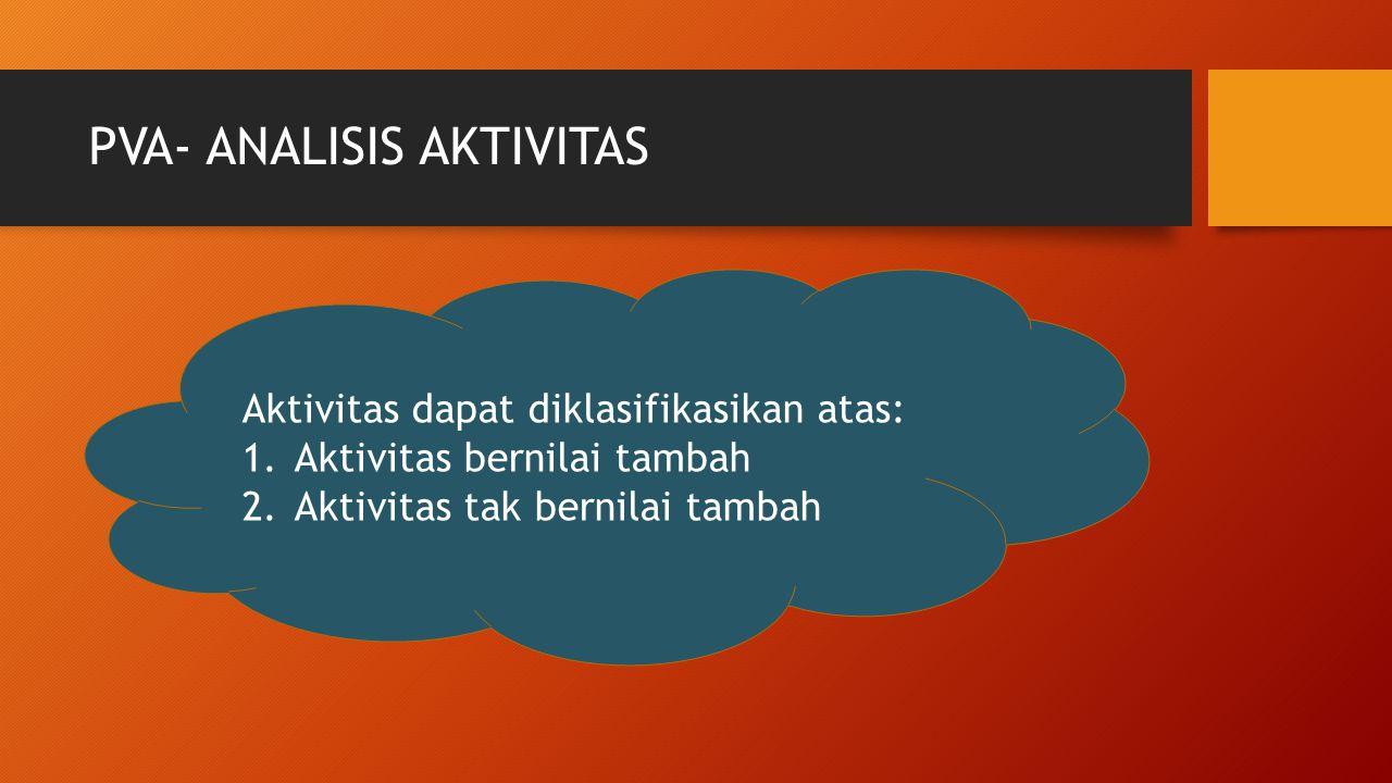 PVA- ANALISIS AKTIVITAS Aktivitas dapat diklasifikasikan atas: 1.Aktivitas bernilai tambah 2.Aktivitas tak bernilai tambah