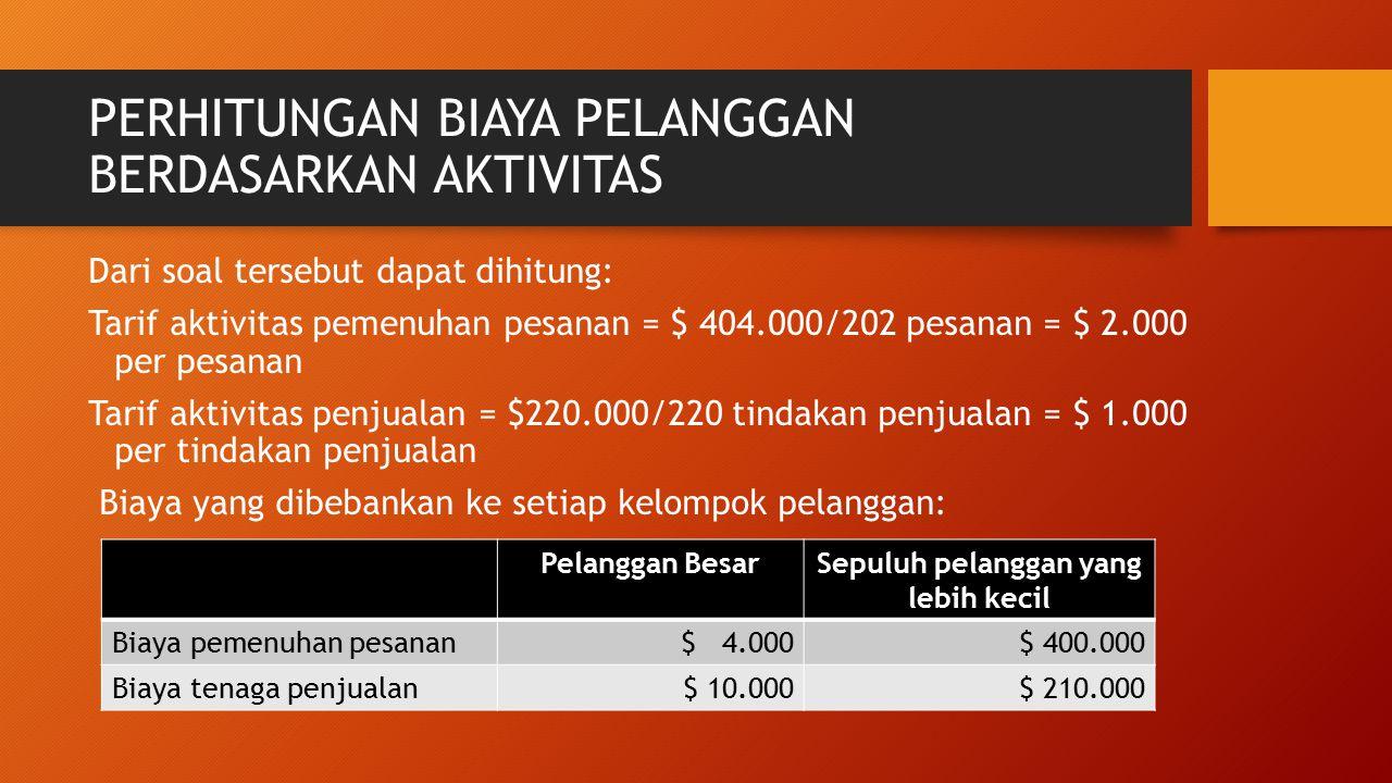 PERHITUNGAN BIAYA PELANGGAN BERDASARKAN AKTIVITAS Dari soal tersebut dapat dihitung: Tarif aktivitas pemenuhan pesanan = $ 404.000/202 pesanan = $ 2.0