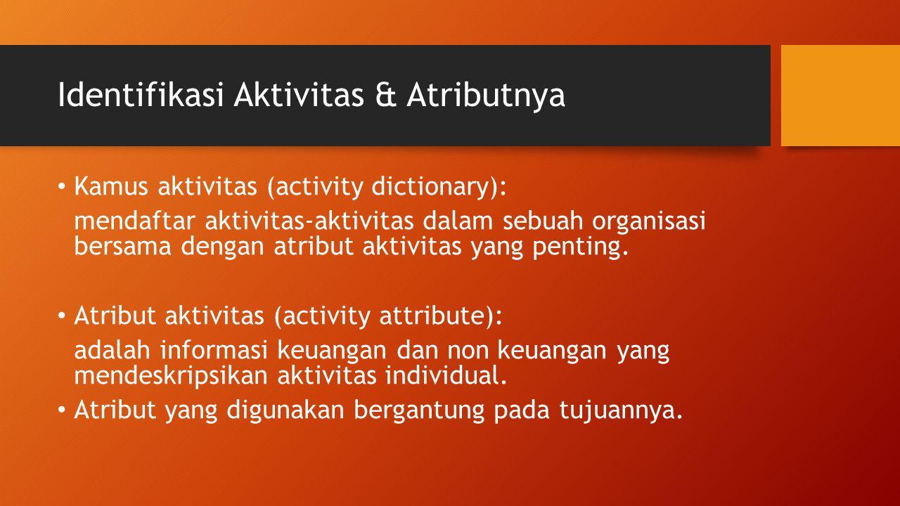 Identifikasi Aktivitas & Atributnya Kamus aktivitas (activity dictionary): mendaftar aktivitas-aktivitas dalam sebuah organisasi bersama dengan atribu