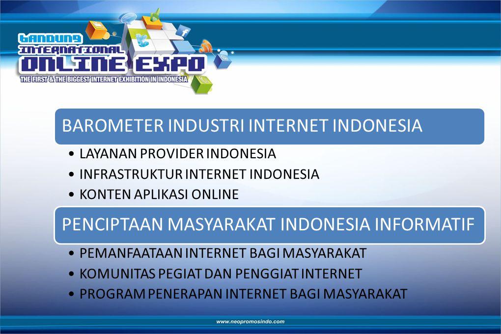 BAROMETER INDUSTRI INTERNET INDONESIA LAYANAN PROVIDER INDONESIA INFRASTRUKTUR INTERNET INDONESIA KONTEN APLIKASI ONLINE PENCIPTAAN MASYARAKAT INDONESIA INFORMATIF PEMANFAATAAN INTERNET BAGI MASYARAKAT KOMUNITAS PEGIAT DAN PENGGIAT INTERNET PROGRAM PENERAPAN INTERNET BAGI MASYARAKAT