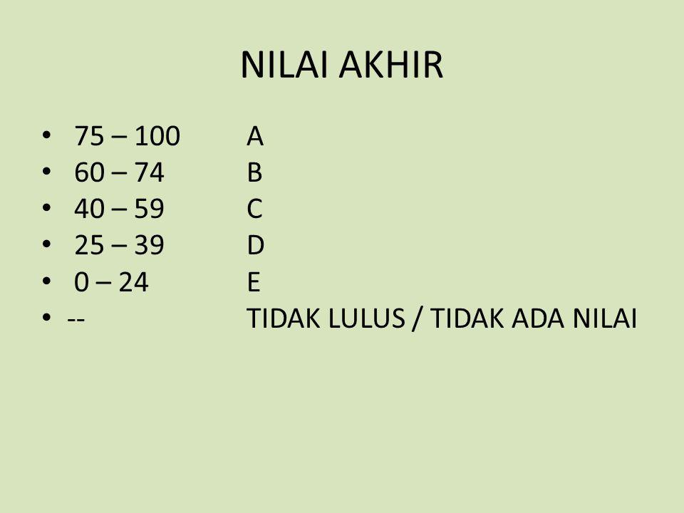 NILAI AKHIR 75 – 100 A 60 – 74B 40 – 59 C 25 – 39D 0 – 24E --TIDAK LULUS / TIDAK ADA NILAI