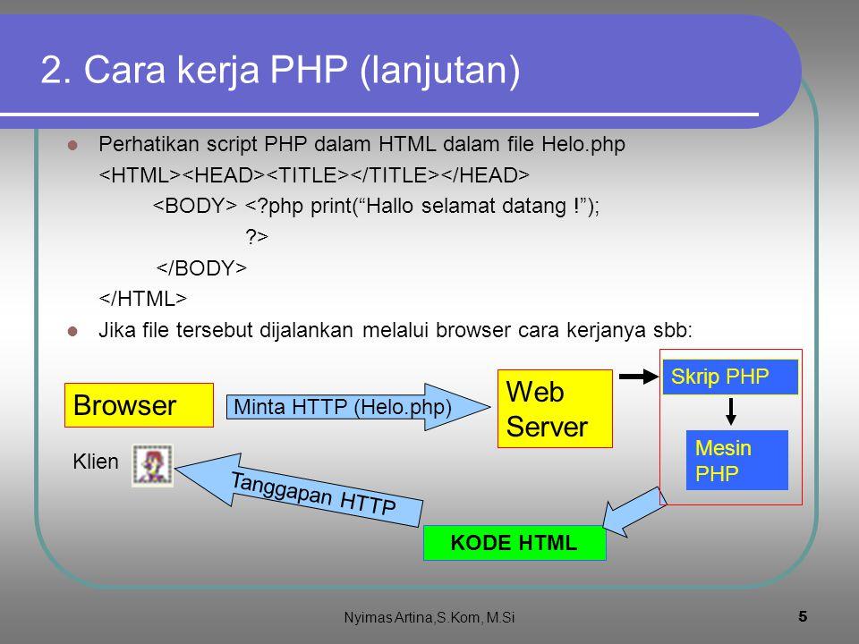 4 2.Cara kerja PHP Perhatikan script HTML dalam file Helo.HTML Hallo selamat datang .