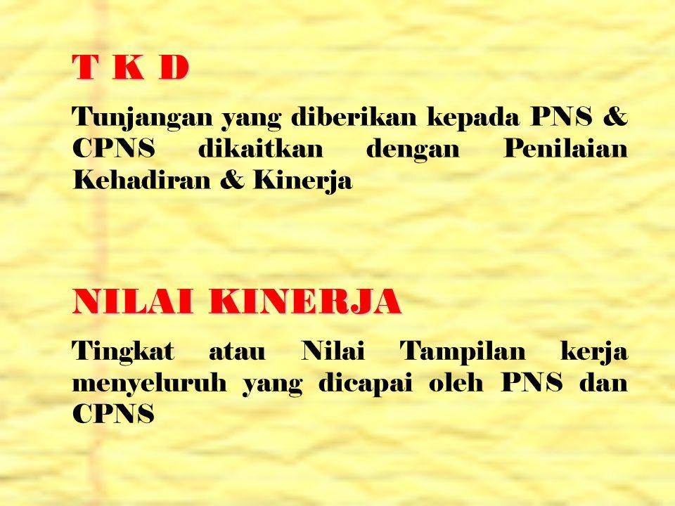 T K D Tunjangan yang diberikan kepada PNS & CPNS dikaitkan dengan Penilaian Kehadiran & Kinerja NILAI KINERJA Tingkat atau Nilai Tampilan kerja menyel