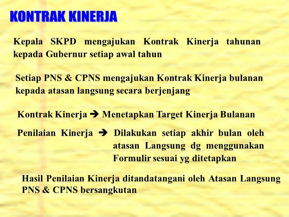Kepala SKPD mengajukan Kontrak Kinerja tahunan kepada Gubernur setiap awal tahun Setiap PNS & CPNS mengajukan Kontrak Kinerja bulanan kepada atasan la