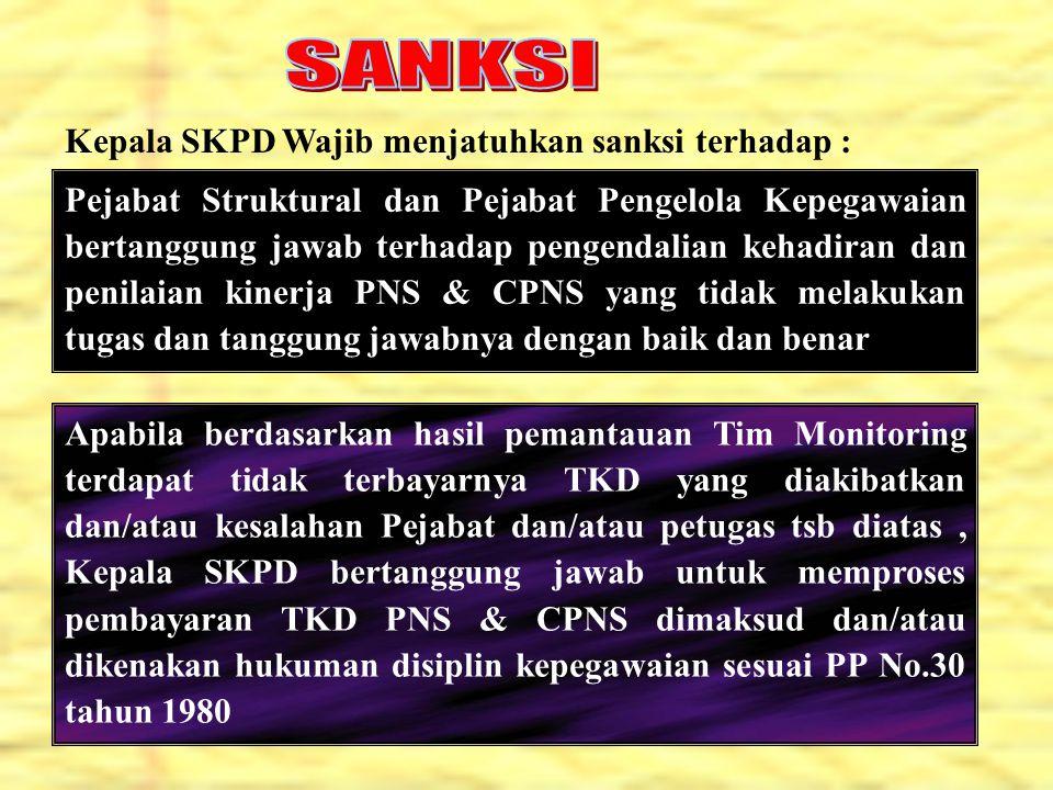 Pejabat Struktural dan Pejabat Pengelola Kepegawaian bertanggung jawab terhadap pengendalian kehadiran dan penilaian kinerja PNS & CPNS yang tidak mel