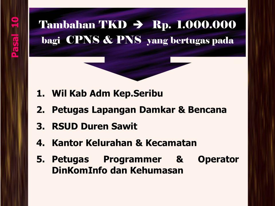 Tambahan TKD  Rp. 1.000.000 bagi CPNS & PNS yang bertugas pada Pasal 10 1.Wil Kab Adm Kep.Seribu 2.Petugas Lapangan Damkar & Bencana 3.RSUD Duren Saw