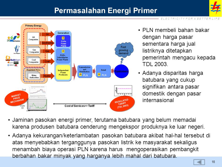 E L E C T R I C I T Y F O R A B E T T E R L I F E Permasalahan Energi Primer 18 PLN membeli bahan bakar dengan harga pasar sementara harga jual listriknya ditetapkan pemerintah mengacu kepada TDL 2003.