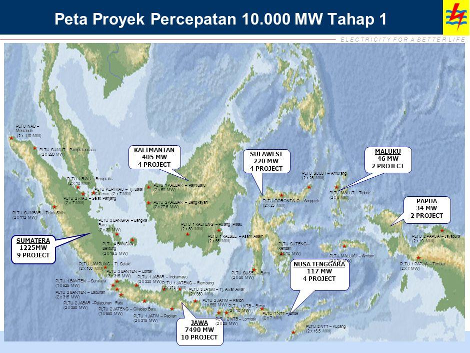 E L E C T R I C I T Y F O R A B E T T E R L I F E SUMATERA 1225MW 9 PROJECT KALIMANTAN 405 MW 4 PROJECT SULAWESI 220 MW 4 PROJECT MALUKU 46 MW 2 PROJECT PAPUA 34 MW 2 PROJECT NUSA TENGGARA 117 MW 4 PROJECT JAWA 7490 MW 10 PROJECT PLTU NAD – Meulaboh (2 x 110 MW) PLTU SUMUT – Pangkalansusu (2 x 220 MW) PLTU SUMBAR – Teluk Sirih (2 x 112 MW) PLTU 1 RIAU – Bengkalis (2 x 10 MW) PLTU 2 RIAU – Selat Panjang (2 x 7 MW) PLTU KEP.RIAU – Tj.