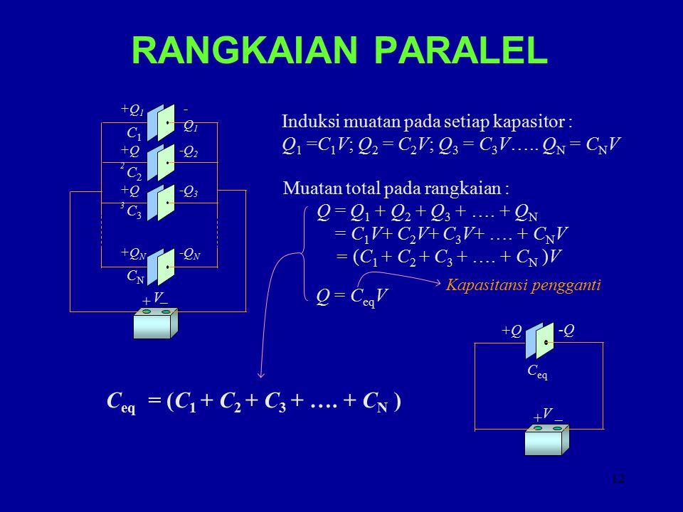 13 RANGKAIAN SERI C1C1 C2C2 C3C3 CNCN + _V +Q -Q Beda potensial pada tiap kapasitor : V 1 =Q/C 1 ; V 2 = Q/C 2 ; V 3 = Q/C 3 …..