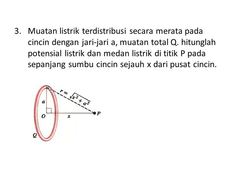 3.Muatan listrik terdistribusi secara merata pada cincin dengan jari-jari a, muatan total Q. hitunglah potensial listrik dan medan listrik di titik P